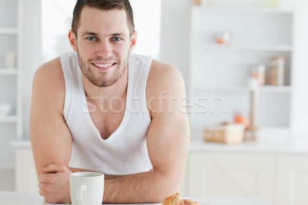 Mann Frühstück Küche sexy glücklich Gesundheit Stock foto © wavebreak_media