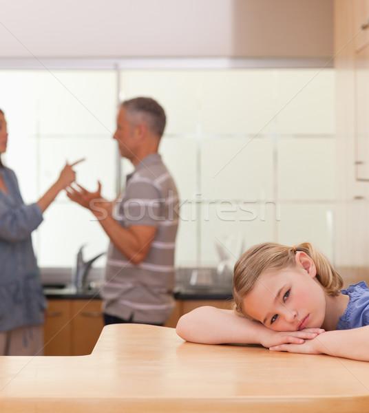 Portre üzücü kız dinleme ebeveyn Stok fotoğraf © wavebreak_media