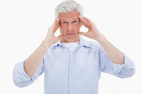 érett férfi fejfájás fehér arc divat háttér Stock fotó © wavebreak_media