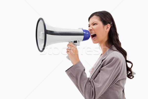 Oldalnézet mérges üzletasszony kiált megafon fehér Stock fotó © wavebreak_media