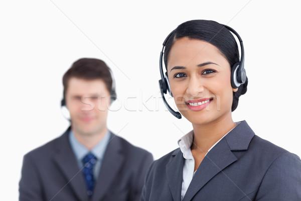 Sorridente call center branco homem trabalhar Foto stock © wavebreak_media