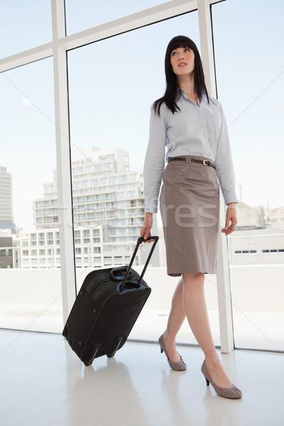 Nő iroda bőrönd kéz üzlet mosoly Stock fotó © wavebreak_media