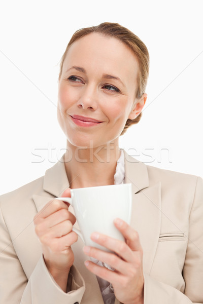 Frau Anzug halten mug weiß Business Stock foto © wavebreak_media