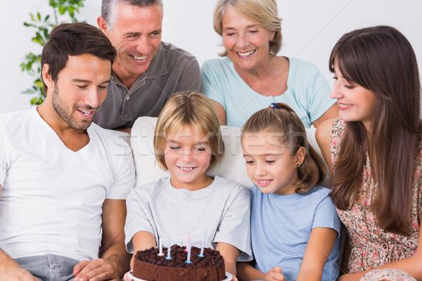 Család ünnepel fiatal fiúk születésnap kanapé Stock fotó © wavebreak_media