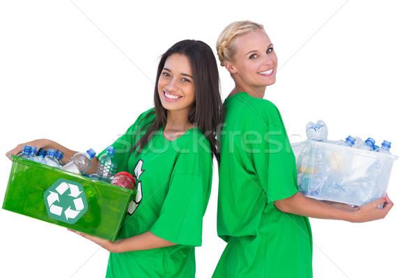 Tart doboz áll hát boldogan fehér Stock fotó © wavebreak_media