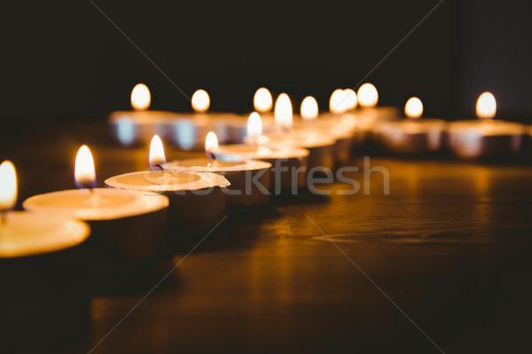 Gyertyák forma kereszt fa asztal ima Stock fotó © wavebreak_media
