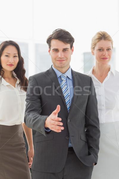 Affaires main sur équipe bureau affaires Photo stock © wavebreak_media