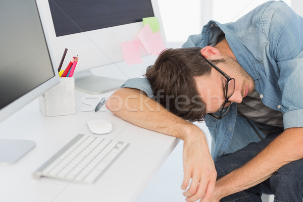 Fiatal lezser férfi alszik számítógép fényes Stock fotó © wavebreak_media