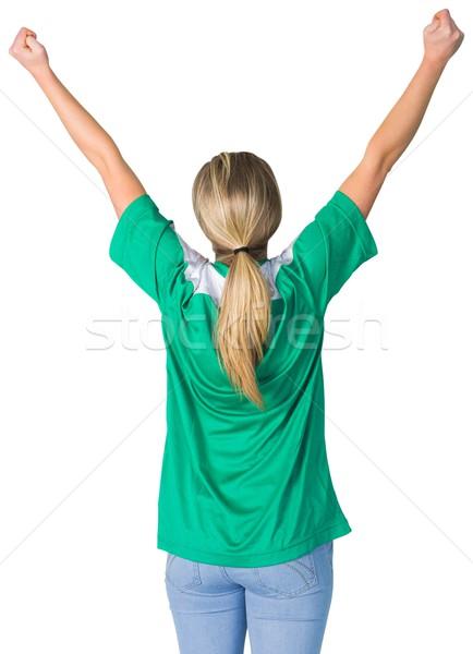 Juichen voetbal fan groene witte voetbal Stockfoto © wavebreak_media