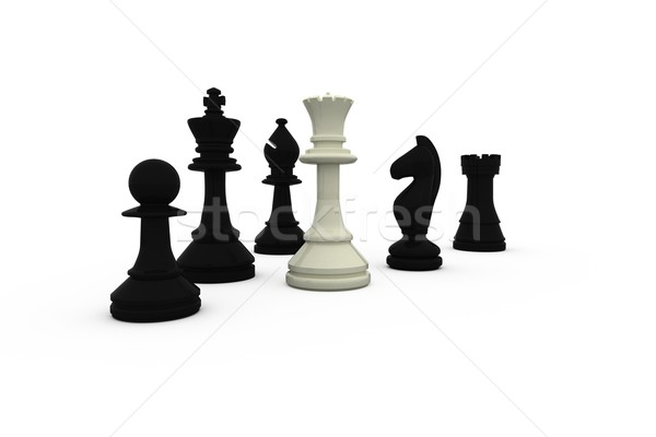 White queen standing with black pieces Stock photo © wavebreak_media