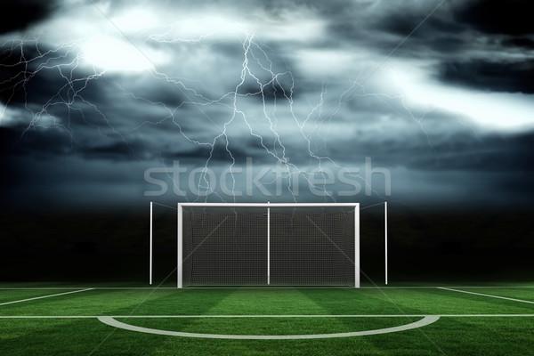 Voetbal toonhoogte stormachtig hemel digitaal gegenereerde Stockfoto © wavebreak_media