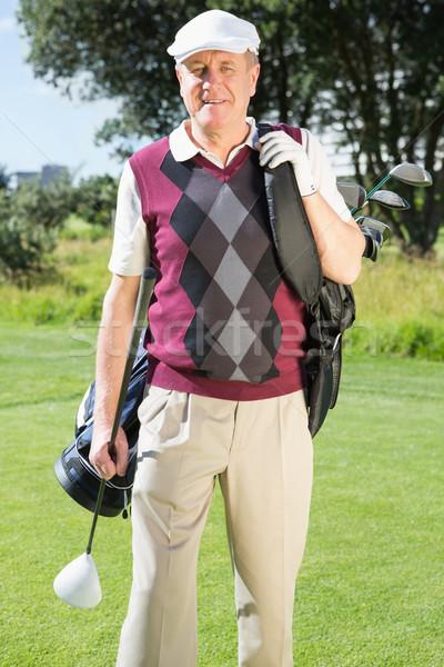 Stockfoto: Golfer · golftas · glimlachend · camera
