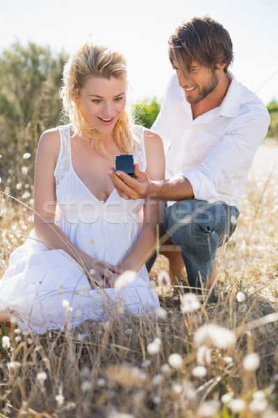 Attractive man proposing to his girlfriend in the country Stock photo © wavebreak_media