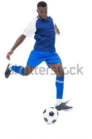 Voetballer Geel bal witte sport Stockfoto © wavebreak_media