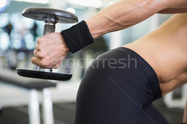 Stock fotó: Középső · rész · fitt · nő · testmozgás · súlyzó · tornaterem