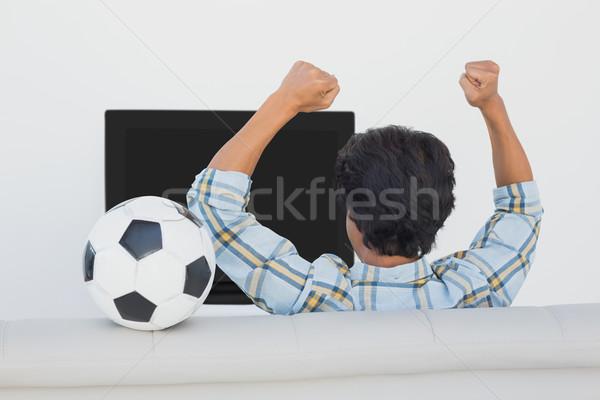 Voetbal fan juichen kijken tv achteraanzicht Stockfoto © wavebreak_media