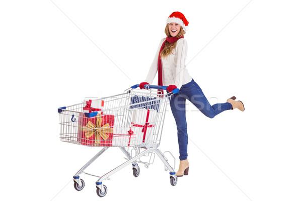 Poussant plein cadeaux blanche Photo stock © wavebreak_media