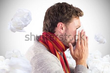 Homem assoar o nariz branco masculino em pé Foto stock © wavebreak_media