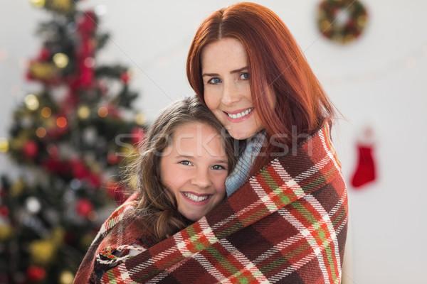Mãe filha cobertor casa sala de estar Foto stock © wavebreak_media