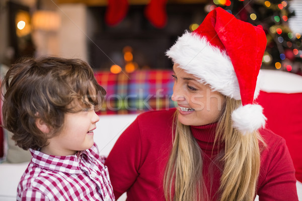 Festive mother and son smiling at each other Stock photo © wavebreak_media