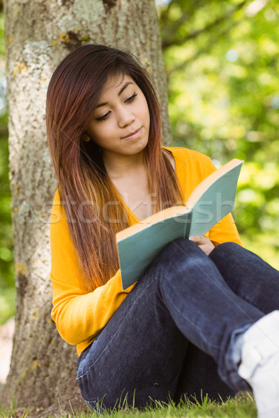 Female student reading book against tree trunk in park Stock photo © wavebreak_media