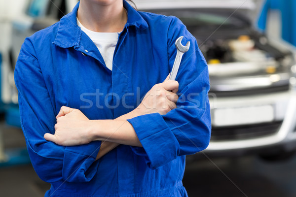 Mechanic holding wrench with crossed arms Stock photo © wavebreak_media