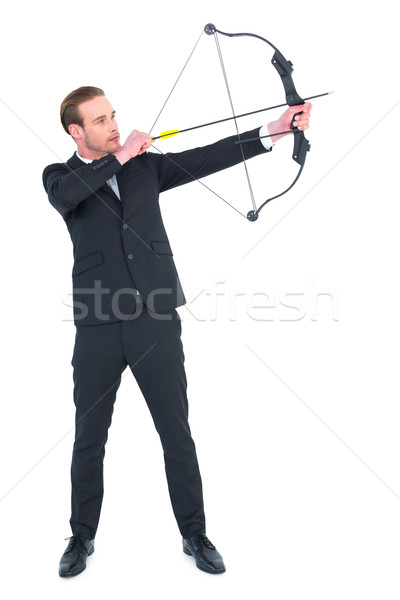 бизнесмен съемки лук стрелка белый Сток-фото © wavebreak_media