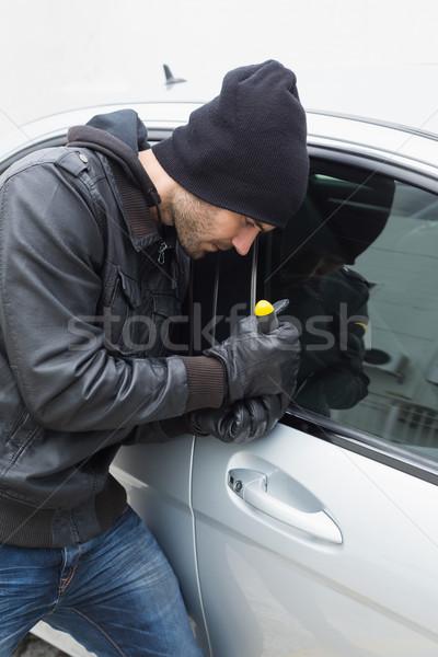 вора автомобилей отвертка Hat мужчины страхования Сток-фото © wavebreak_media