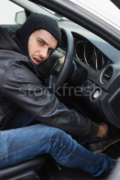 Stock fotó: Tolvaj · autó · ajtó · férfi · biztosítás · kesztyű