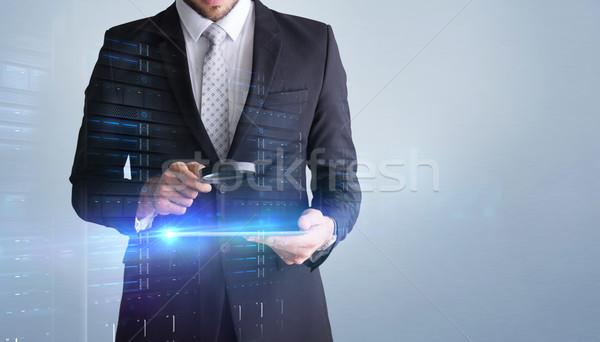 изображение концентрированный бизнесмен увеличительного увеличительное стекло Сток-фото © wavebreak_media