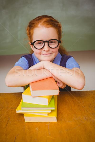 かわいい 少女 スタック 図書 教室 肖像 ストックフォト © wavebreak_media