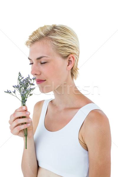 Mulher loira flores branco mulher flor Foto stock © wavebreak_media