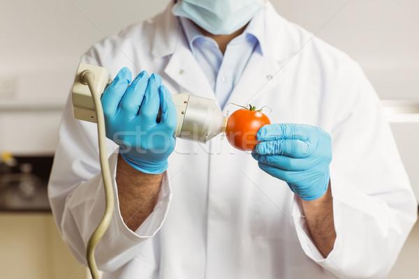 Food scientist using device on tomato Stock photo © wavebreak_media