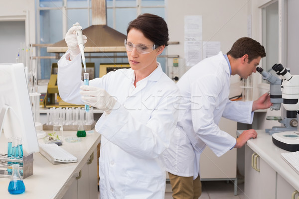 Scientists working attentively with test tube and microscope Stock photo © wavebreak_media