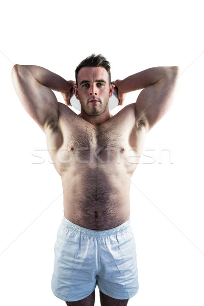 Shirtless rugby player holding ball Stock photo © wavebreak_media