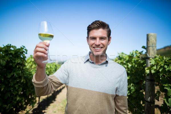 Retrato feliz moço copo de vinho vinha Foto stock © wavebreak_media