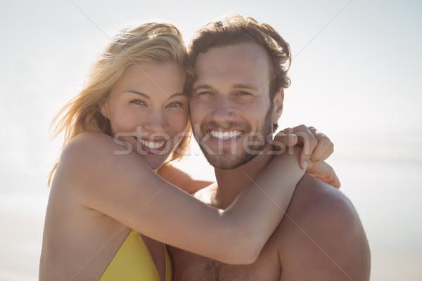 Сток-фото: портрет · счастливым · пару · пляж
