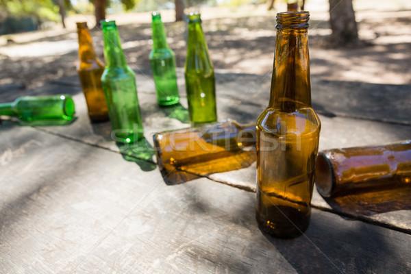 Lege bier flessen houten plank park Stockfoto © wavebreak_media