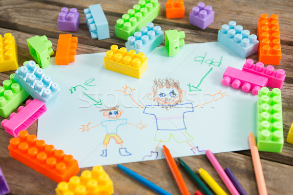 Fathers day greeting card with toy blocks on table Stock photo © wavebreak_media