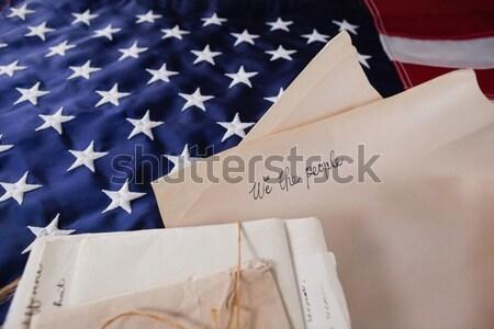 Juridische documenten Amerikaanse vlag papier achtergrond Stockfoto © wavebreak_media