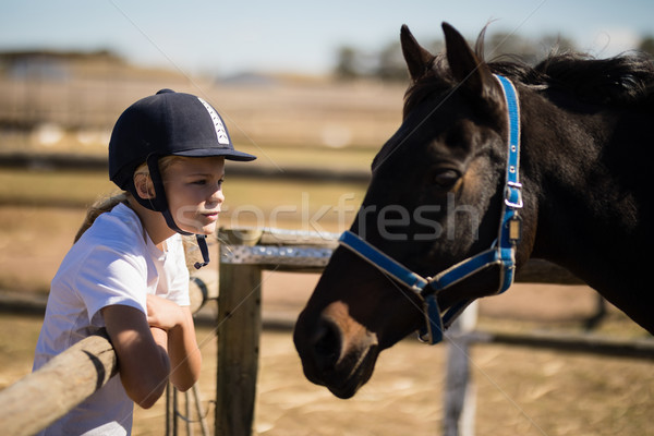 Girl staring at the brown horse in the ranch Stock photo © wavebreak_media