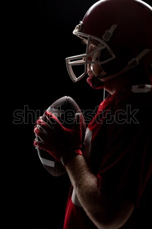 Mid section of shirtless man with trophy and rugby ball against British flag Stock photo © wavebreak_media