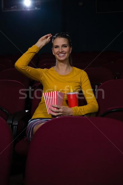 Boldog nő pattogatott kukorica italok néz film Stock fotó © wavebreak_media