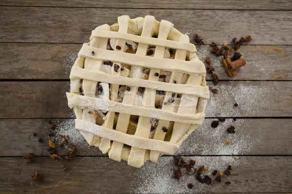 Kilátás almás pite sütés serpenyő fűszer fa asztal Stock fotó © wavebreak_media
