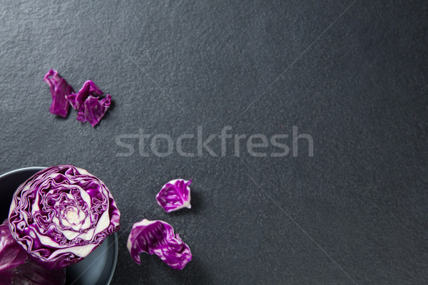 Red cabbage in bowl on slate Stock photo © wavebreak_media