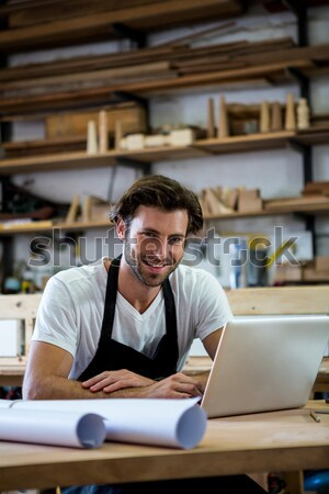 Thoughtful male potter working at worktop Stock photo © wavebreak_media