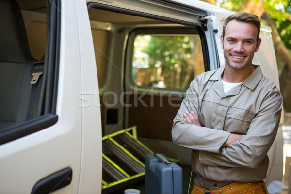 Handyman with tool belt around waist Stock photo © wavebreak_media