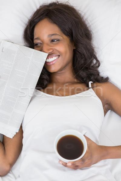 Bella letto tazza di caffè news Foto d'archivio © wavebreak_media