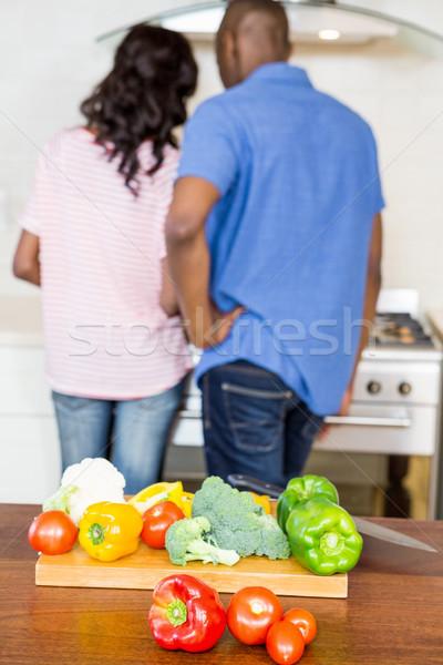 Sebze bıçak çift pişirme Stok fotoğraf © wavebreak_media
