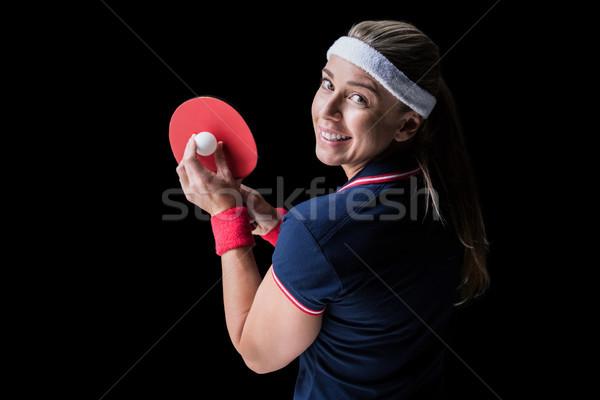 Kadın atlet oynama ping pong siyah mutlu Stok fotoğraf © wavebreak_media
